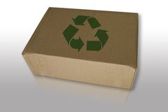 Recycle box on reflect floor Royalty Free Stock Photos