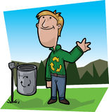 Recycle boy. Smiling boy dressed with a green shirt with recycle symbol, waving in front of a recycle bin stock illustration