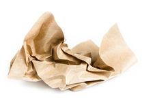 Recycle brown crumpled paper on white background Royalty Free Stock Photography