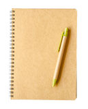 Recycle brown paper notebook and pen Stock Images