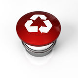 Recycle button. A panic buton for recycling symbol stop warning Royalty Free Stock Image