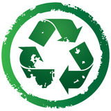 Recycle button. Grunge torn recycle symbol icon illustration Royalty Free Stock Image