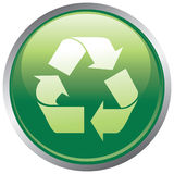 Recycle button. Glossy green recycle internet button illustration Stock Photography