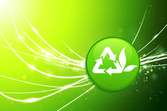 Recycle Button on Green Abstract Light Background Royalty Free Stock Photos