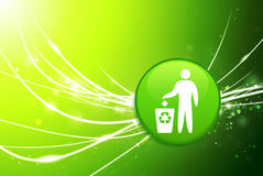Recycle Button on Green Abstract Light Background Royalty Free Stock Photo
