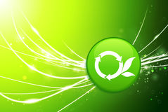 Recycle Button on Green Abstract Light Background Stock Photo