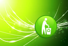 Recycle Button on Green Abstract Light Background.  Stock Photography