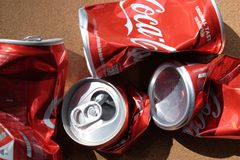 Recycle cans, Crumpled aluminum can royalty free stock photography