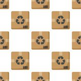 Recycle Cardboard Box Seamless Pattern Stock Photography
