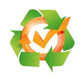 Recycle and check mark cycle illustration Stock Photo