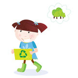 Recycle child. Recycle and save our planet! Smal girl with recycling box. Vector Illustration Royalty Free Stock Image