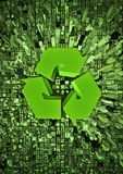 Recycle city. 3D render of recycle symbol embedded in cityscape Royalty Free Stock Photo