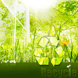 Recycle for a clean environment. Promoting recycling with a pristine, healthy environment Royalty Free Stock Photography