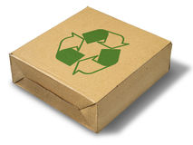 Recycle close brown paper box. On white background Stock Photo