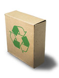 Recycle close brown paper box. Stand on white background Stock Photo