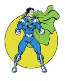 Recycle comic book super hero standing in heroic pose for the environment Stock Images