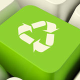 Recycle Computer Key In Green Showing Recycling And Eco Friendly Stock Image