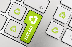 Recycle Concept. Button with recycle symbol on modern aluminium keyboard Stock Photography