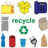 Recycle concept for household and electronic waste. Recycle concept for household and electronic waste, vector Stock Photo