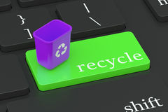 Recycle concept on keyboard button Stock Image