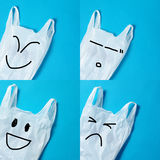 Recycle Concept of Plastic Bags. In four Emotional on Blue Screen Royalty Free Stock Image