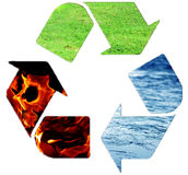 Recycle concept. Recycle for a pure element world concept Royalty Free Stock Images