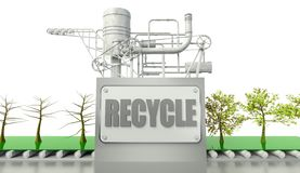 Recycle conception with trees and machine Royalty Free Stock Photo