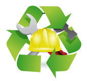 Recycle and construction symbol join together Royalty Free Stock Photos