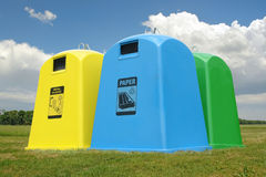 Recycle containers stock images