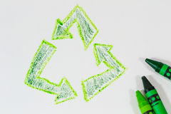 Recycle in crayon Stock Photography