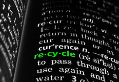Recycle Defined on Black Royalty Free Stock Images
