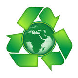 Recycle earth. A recycle symbol with earth Royalty Free Stock Images