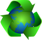 Recycle and earth. Recycle icon planet earth in centre Royalty Free Stock Photos