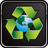 Recycle earth black checkered web button Stock Images