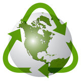 Recycle earth globe. Against white background; abstract vector art illustration; image contains transparency Stock Photo