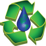 Recycle Earths Water. Recycle Symbol and Water with Earth Stock Photo