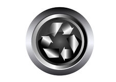 Recycle ecology Sign on black metal button. Illustration Royalty Free Stock Photography