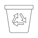 Recycle ecology trash can thin line Royalty Free Stock Photography