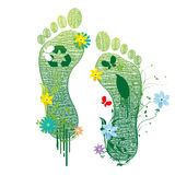 Recycle feet. Illustration of recycle feet on white background Stock Image