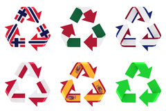 Recycle flag. Recycling 3d symbol with flags Stock Image