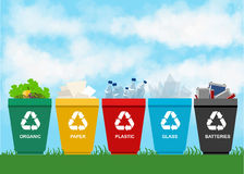 Recycle garbage bins plastic organic battery glass metal paper. Trash Royalty Free Stock Photos