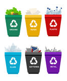 Recycle garbage bins plastic organic battery glass metal paper. Trash Royalty Free Stock Images