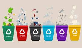 Recycle garbage bins plastic organic battery glass metal paper. Trash. Recycle garbage bins. Separation concept. Set waste plastic organic battery glass metal Stock Image