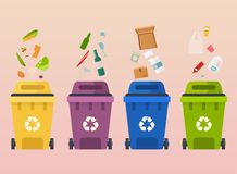 Recycle garbage bins. Waste types segregation recycling: organic. Paper, glass waste. Flat design modern vector illustration concept Royalty Free Stock Photos
