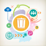 Recycle garbage can and cloud on abstract colorful watercolor ba Stock Photography