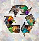Recycle Garbage Concept. And Recycling waste management icon shaped with reusable old paper glass metal and plastic household products to be reused helping with Stock Image