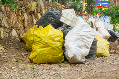 Recycle Garbage dispose in Tied or Know Trash bags. As Recycling or Environment Conserving Concept Royalty Free Stock Photos
