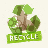 Recycle garbage vector illustration. Plastic and metal rubbish recycling creative concept. Bottle, can, plastic bag with word Recycle graphic design Stock Photos