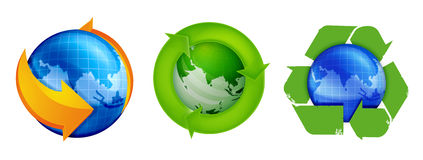 Recycle and Globe. Globe with the symbol of recycle to represent environments health Stock Images