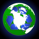 Recycle Globe. Globe with recycle sign royalty free illustration